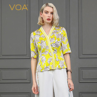 VOA ярко желтый футболка роскошные дамы топы без рукавов с v образным вырезом печати Половина рукава Повседневное Футболка женская одежда