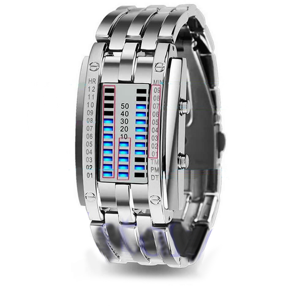 Men Women Creative Stainless Steel LED Date Bracelet Watch Binary Wristwatches Digital LED Clock Display Gift Relogio Masculino