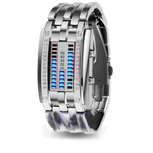 Men Women Creative Stainless Steel LED Date Bracelet Watch Binary Wristwatches Digital Clock Display Gift Relogio Masculino