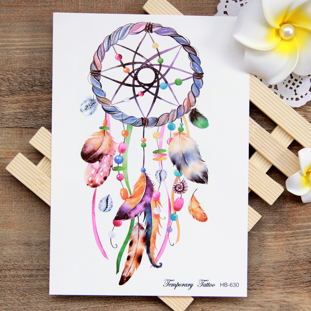 Waterproof Temporary Tattoo Sticker Colorful Dreamcatcher Boho Dream Catcher Tattoo Water Transfer Fake  Flash