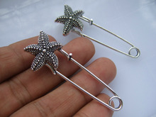 10pcs Large Silver Tone Durable Strong Metal Kilt Scarf Brooch Starfish Safety Pin 51mm