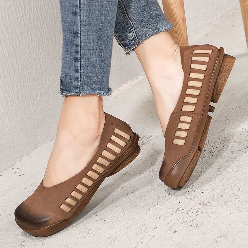 2019 VALLU Vintage Women Shoes Moccasins Round Toes Women Flats Genuine Leather Lady Soft Comfortable Shoes Slip On Loafers-in Women's Flats from Shoes    1