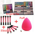 DHL 24 sets 120 Full Colors Eyeshadow Cosmetics Mineral Make Up Professional Makeup Eye Shadow Palette Kit +5 brushes +puff