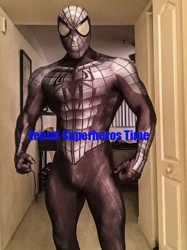 3D Print Black Armored Spider man Costume lycra Spandex Zentai Spiderman Full Body Suit Halloween Spidey