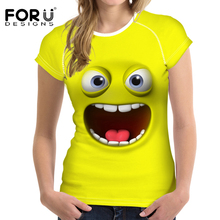 FORUDESIGNS Funny Emoji Print T Shirt Women Novelty 3D Smiling Face T-Shirt Female Short Sleeve Tshirt Fashion Lady Clothes Tops