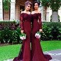 Burgundy Long Sleeve Mermaid Bridesmaid Dresses 2017 Cheap Arabic Vintage Lace Sheer Beaded Sequin Vestido De Festa De Casamento