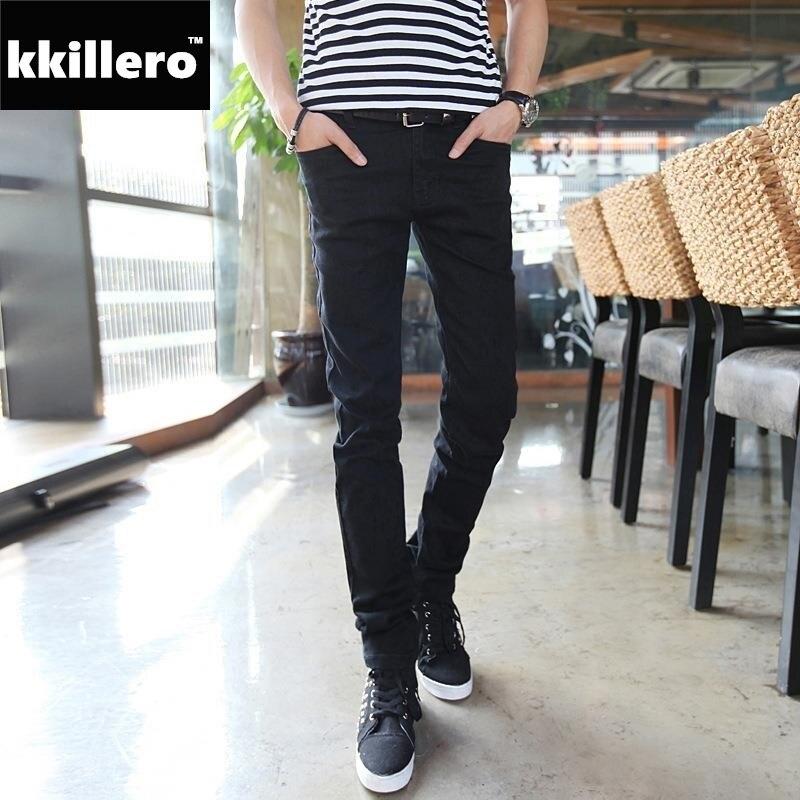 Basic Styles Boys Mens Jeans Stretch Classic Black Denim Mens Pants Casual Fashion Slim Fit Jeans Size 27-36 919