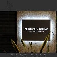 Матовый Сталь вывеска магазина со светодиодной Glow освещенность 40*40 см, customizied слова Вышивка Крестом Картины, розничная продажа визуальный М