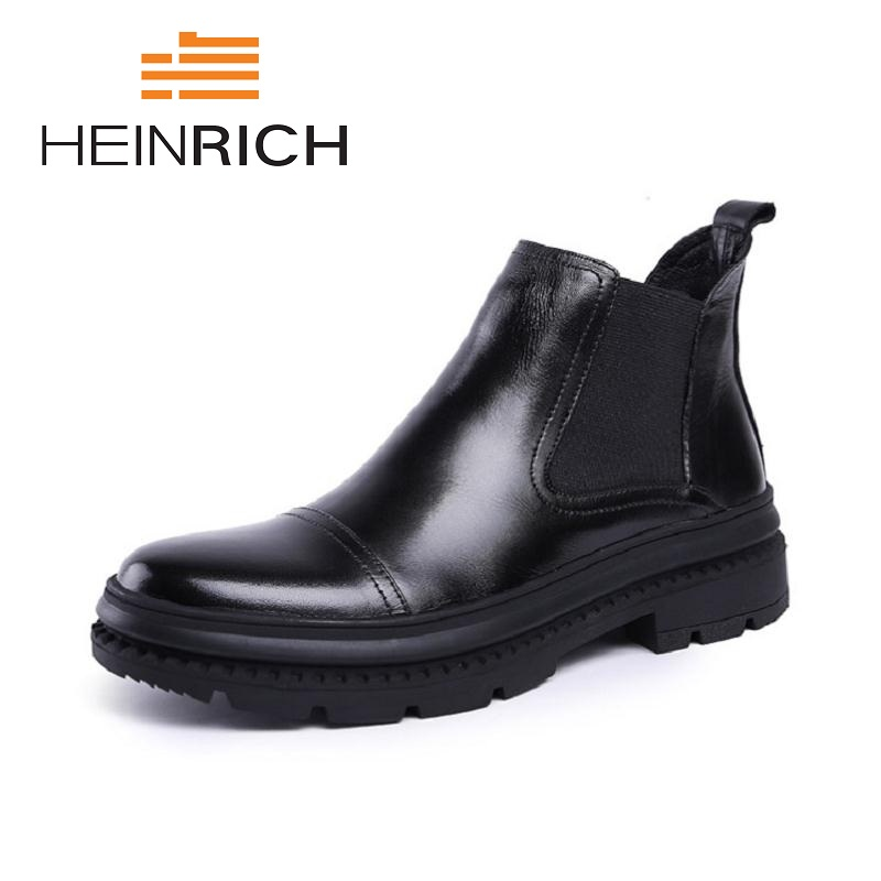 HEINRICH 2018 Spring Fashion Casual Chelsea Boots For Men Shoes Cow Leather Slip On Outdoors Man Boots Damen StiefelettenHEINRICH 2018 Spring Fashion Casual Chelsea Boots For Men Shoes Cow Leather Slip On Outdoors Man Boots Damen Stiefeletten