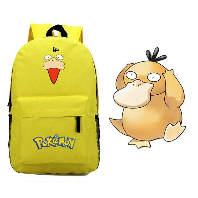 3753f3a46392 Anime Kawaii Pokemon Pocket Monster Psyduck Canvas Printing Emoji Backpack  School Bags for Teenagers Children Backpacks