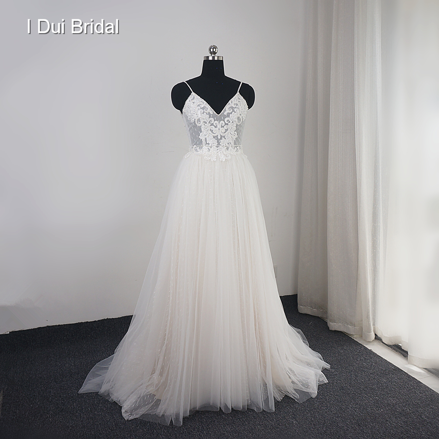Dot Tulle Beach Wedding Dress with Champagne Lining Spaghetti Pearl Beaded Strap Bridal Gown