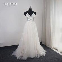 فستان زفاف للشاطئ منقطة من التول ، فستان زفاف مزين بالخرز واللؤلؤ