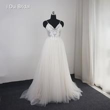 Dot Tulle Beach Wedding Dress Spaghetti Pearl Beaded Strap Bridal Gown