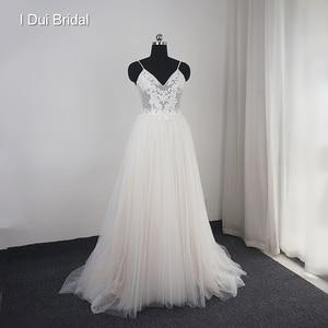 Image 1 - Dot Tulle Beach Wedding Dress Spaghetti Pearl Beaded Strap Bridal Gown