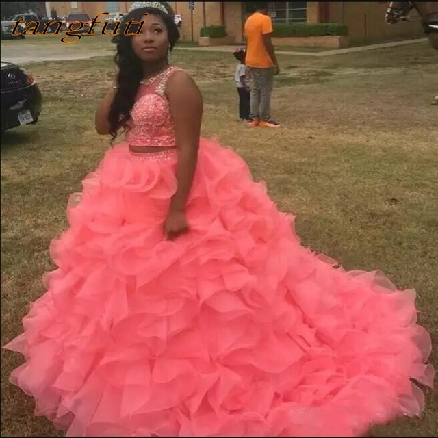 a44650837 Two 2 Pieces Quinceanera Dresses Prom Party Online Princess Ball Gown for Prom  Sweet Sixteen 16 Dresses vestidos de 15 anos