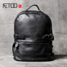 AETOO Cowhide Double shoulder Bag leather schoolbag handmade simple classic men's and women's computer bag local focal handmade classic striped hand bag
