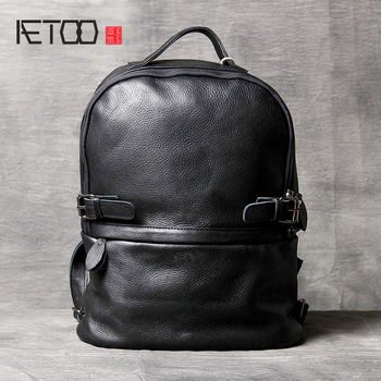 AETOO Cowhide Double shoulder Bag leather schoolbag handmade simple classic men's and women's computer bag