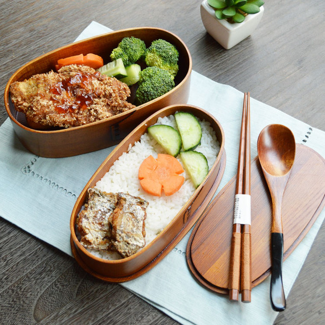 Japanese Style Double Deck Wooden Bento Boxes Handmade Wood Food Containers