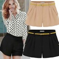 2014 Summer Fashion Women's Shorts Black, Sexy Short Pants, Khaki Hot Pants, Top Quality Pleated Shorts Plus Size