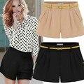 2014 moda de verano de la mujer Shorts negro, Sexy pantalones cortos, caqui pantalones calientes, de calidad superior plisado Shorts tallas grandes