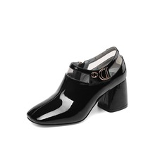 Fashion brand full leather comfortable thick with deep mouth women's single shoes square head metal buckle high heels women цена