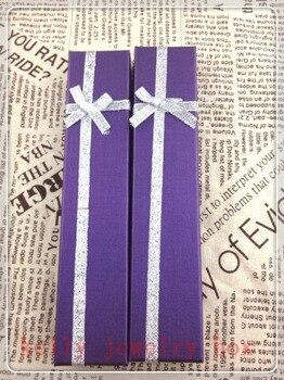 Wholesale 48pcs/lot 20x4x2cm Purple Paper Jewelry Box Bracelet Necklace Gift Box Favor Jewelry Display Packaging Boxes Case