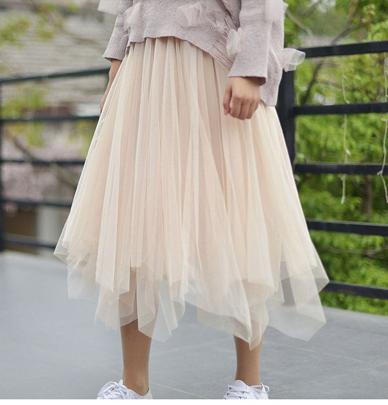 8b9030a0f812a2 Womens Fashion 3 Layers Tutu Tulle Midi Skirt Elastic High Waist Irregular  Pleated Skirts Saia faldas saias femininas jupe SK171-in Skirts from Women's  ...