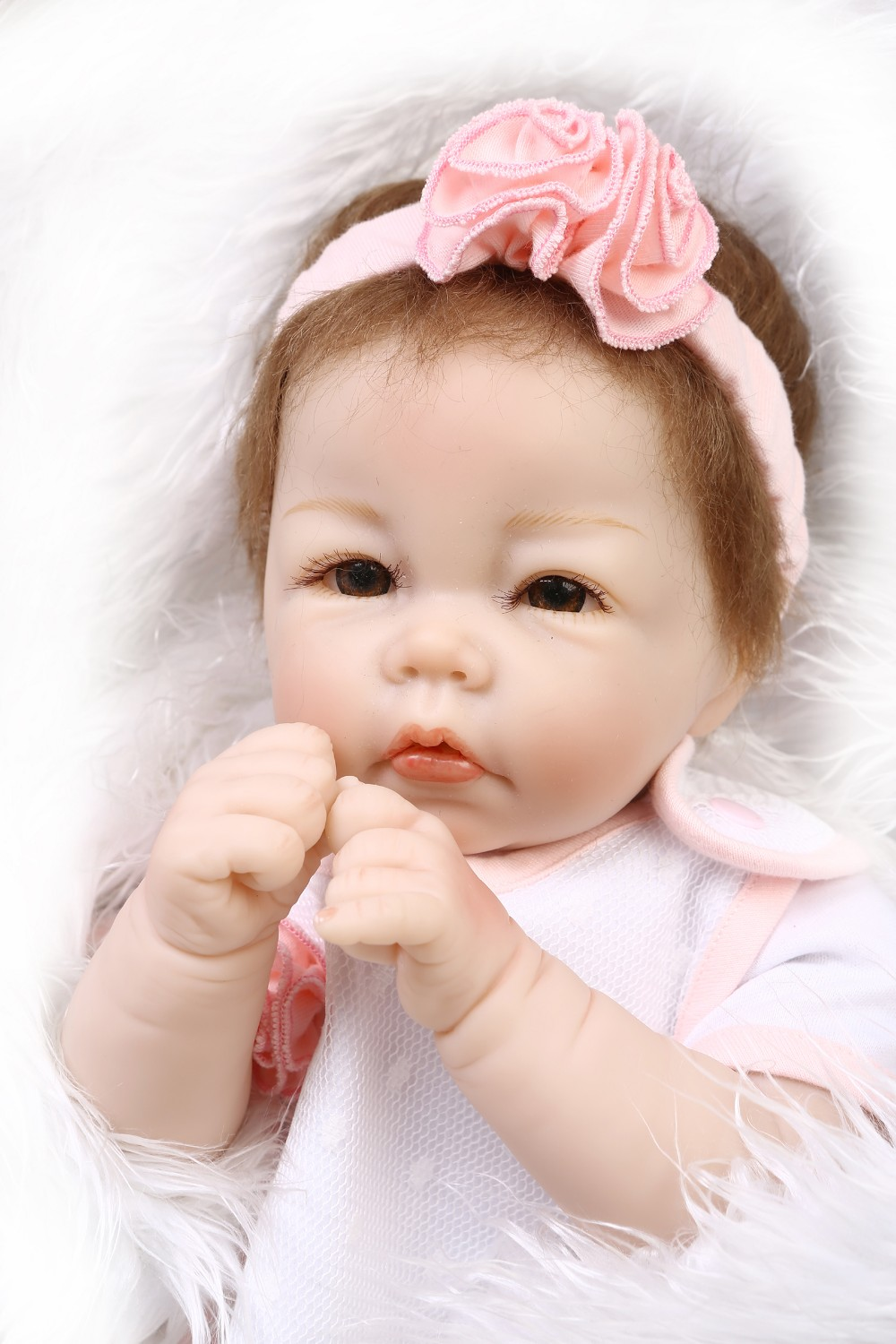 2016NEW wholesale22inch haft soft body doll reborn baby doll lifelike soft silicone vinyl real gentle touch