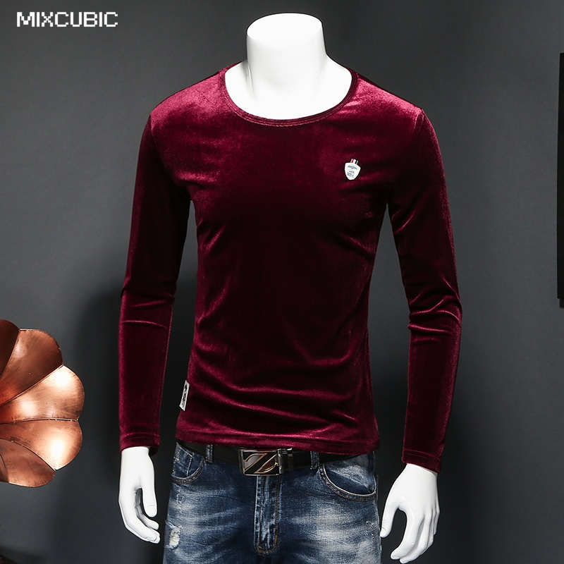 mixcubic autumn england style unique badge desgin black velvet t shirt men wine red casual slim. Black Bedroom Furniture Sets. Home Design Ideas