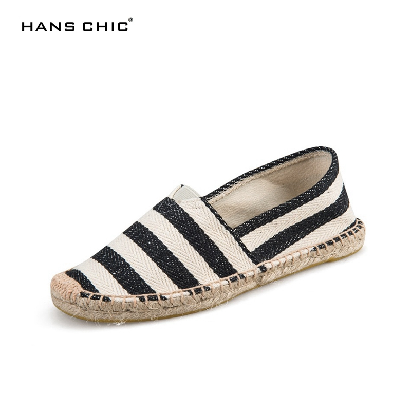 HANSCHIC 2017 New Arrival Black Retro Vintage Striped Design Ladies Womens Casual Espadrilles Shoes for Female Unisex hanschic 2018 spring new arrival houndstooth design retro slip on lady womens med heels pumps shoes for female 001