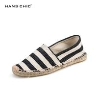 HANSCHIC 2017 New Arrival Black Retro Vintage Striped Design Womens Mens Casual Espadrilles Shoes For Female