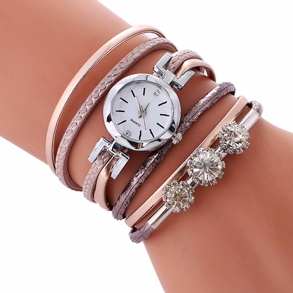 Top Brand Fashion Luxury Rhinestone Leather Bracelet Women Ladies Quartz Watch Casual WristWatches Relogio Feminino Gift 2018 #F