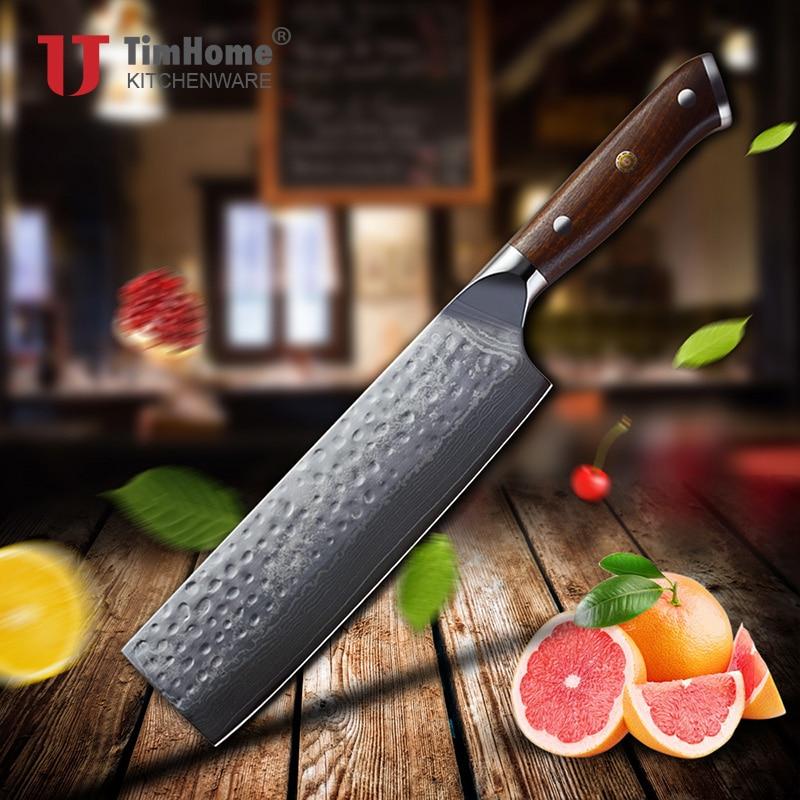 7 بوصة دمشق الصلب اليابانية سكين الطاهي Timhome جديد وصول Nakiri مع جيدة مقبض خشبي-في سكاكين مطبخ من المنزل والحديقة على  مجموعة 1