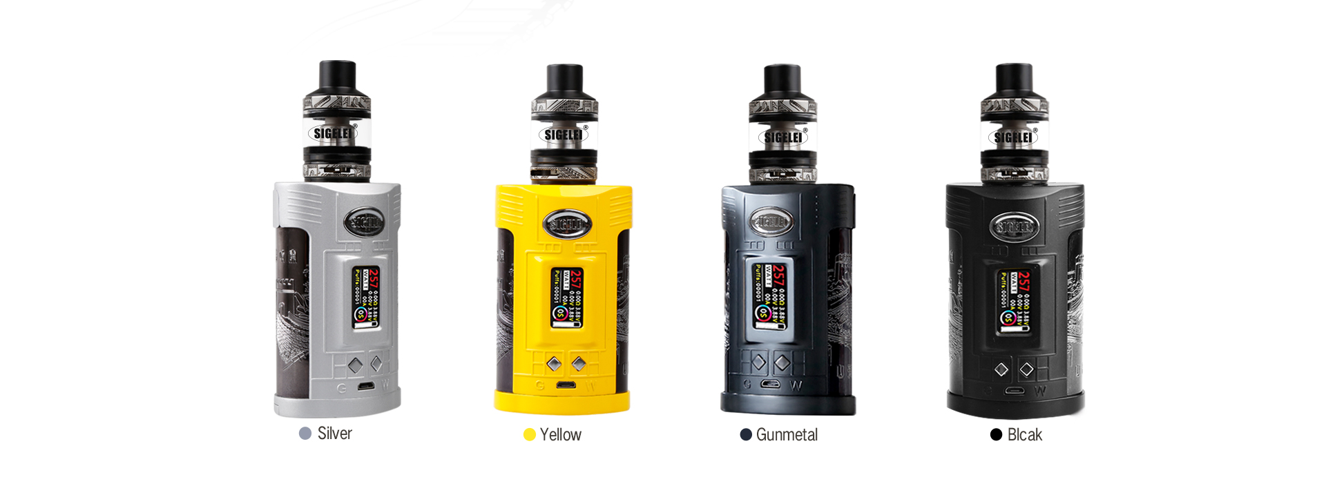 Kit Original 257 W Sigelei GW 20700 TC avec réservoir Sigelei GW MOD 257 W & F 4.5 ml & écran couleur TFT 1.0 pouces sans batterie Kit e-cig