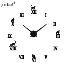 2017 hot sale wall clock acrylic mirror roman cat large clocks quartz watch large living room decorative europe