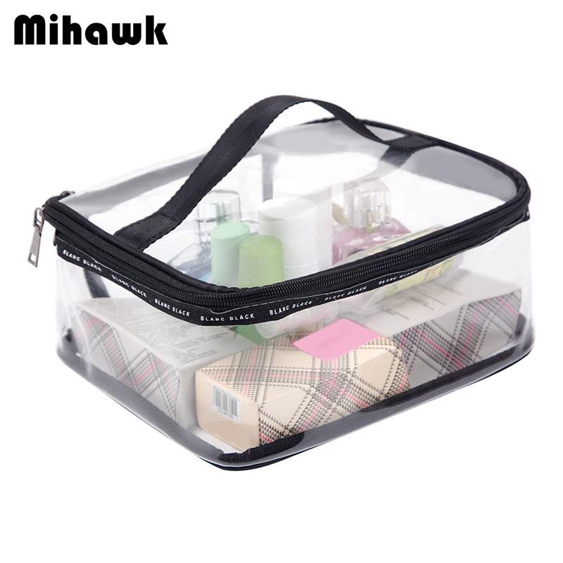 Mihawk Waterproof Transparent PVC Bath Cosmetic Bag Women Make Up Case Travel Zi