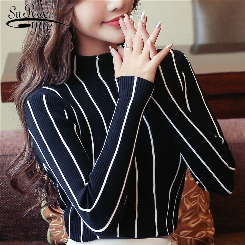 2018 Autumn and winter striped women sweater bottom shirt women s clothing pullover turtleneck female causal