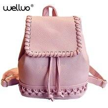 Милые Обувь для девочек ткачество drawstring мини-рюкзак Для женщин школьная сумка искусственная кожа с тиснением Сумки на плечо рюкзак Mochila Feminina XA559B
