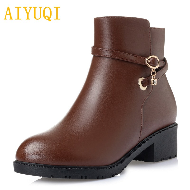 AIYUQI Women s booties 2019 new women s genuine leather wool boots large size 41 42