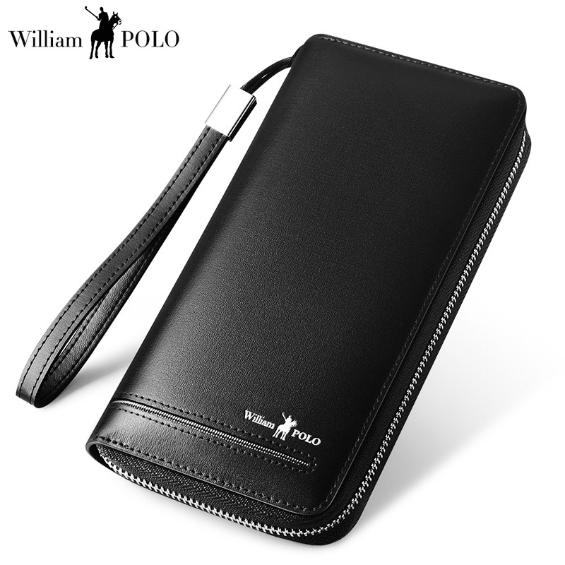 Men Wallet Genuine Leather Brand Wallets Long Zipper Clutch bag Wallets Business Male Coin Card Holder Purse WILLIAMPOLO185131 luxury brand wallet male mens leather card holder business billfold zipper purse wallets men coin clutch carteira masculina zer