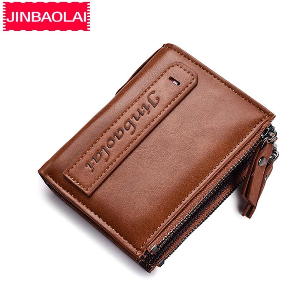 JINBAOLAI Double Zipper Men Wallets Short Desigh Card Holder Male Purse PU Leather Fashion Brand High Quality Simple Men Purse jinbaolai