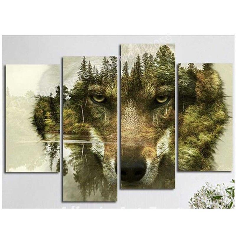Acrylic on canvas Diamond embroidery mountain wolf 5D Diy diamond painting full square Round diamond mozaik puzzleZP 2810