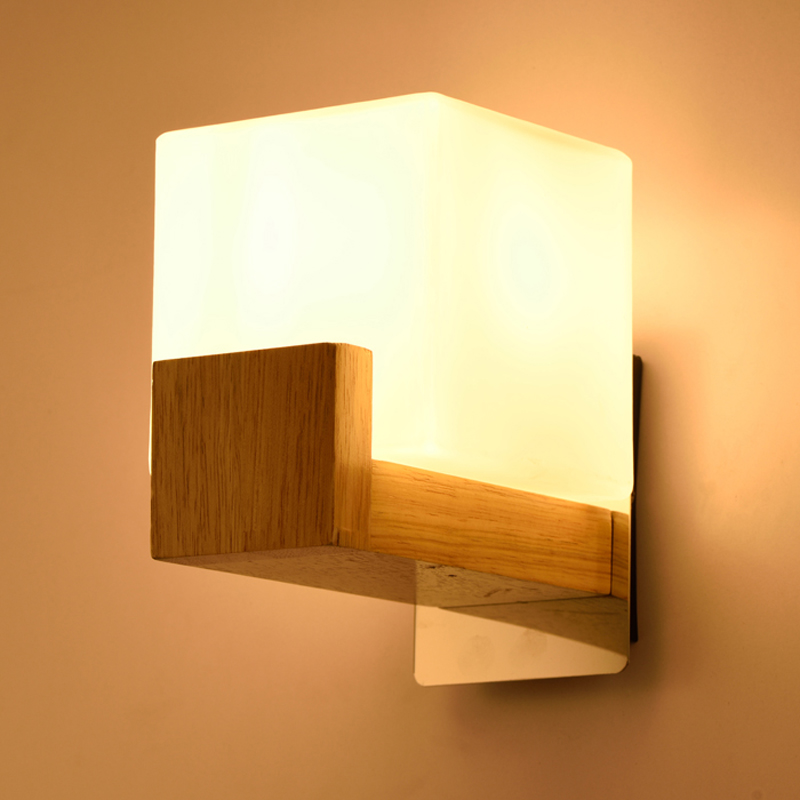Decorative Wall Lamp Shades : Modern Creative Wood Cube Sugar Shade Wall Lamp Bedroom Bedside Kitchen Cabinet Luminaire ...