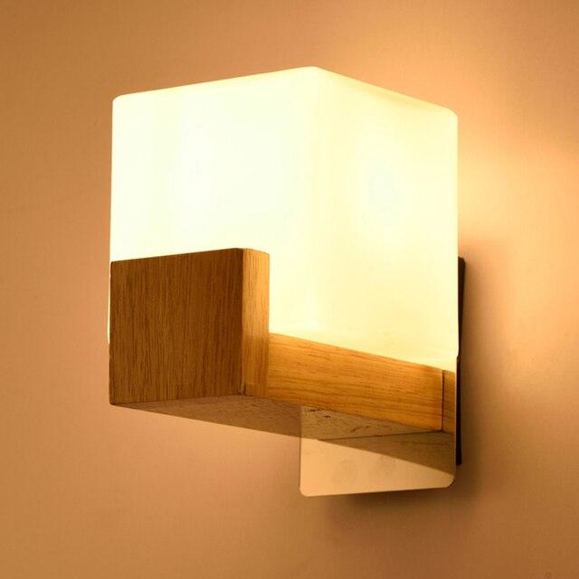 Modern Creative Wood Cube Sugar Shade Wall Lamp Bedroom Bedside ...