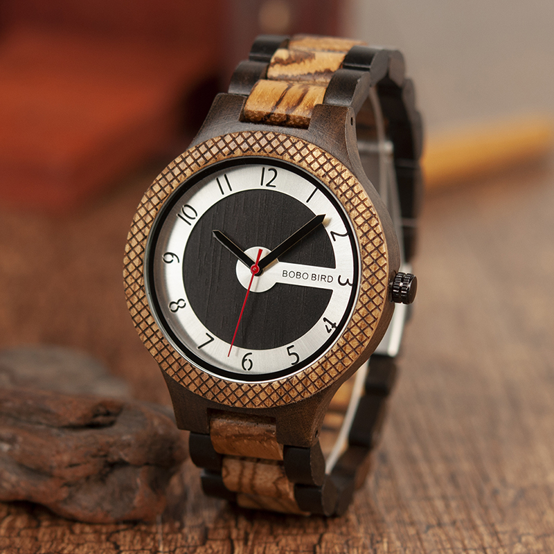 BOBO BIRD Top Brand Men Quartz Watches Stylish Luxury Wooden Wristwatch Timepieces Military In Gift Box Erkek Kol Saati L-R07