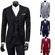 HEFLASHOR para 3 piezas Chaquetas Pantalones chaleco Social traje delgado de  moda de los hombres de negocios sólido traje Casual. dc1e0e19dc5