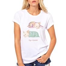 Summer Women Tops Shirt Femme Fashion little Pig Print Cute Animal Harajuku Short Sleeve Tshirt Casual T-Shirt For Ladies