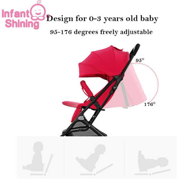 Infant Shining Baby Stroller 5.2kg Folding Baby Carriage