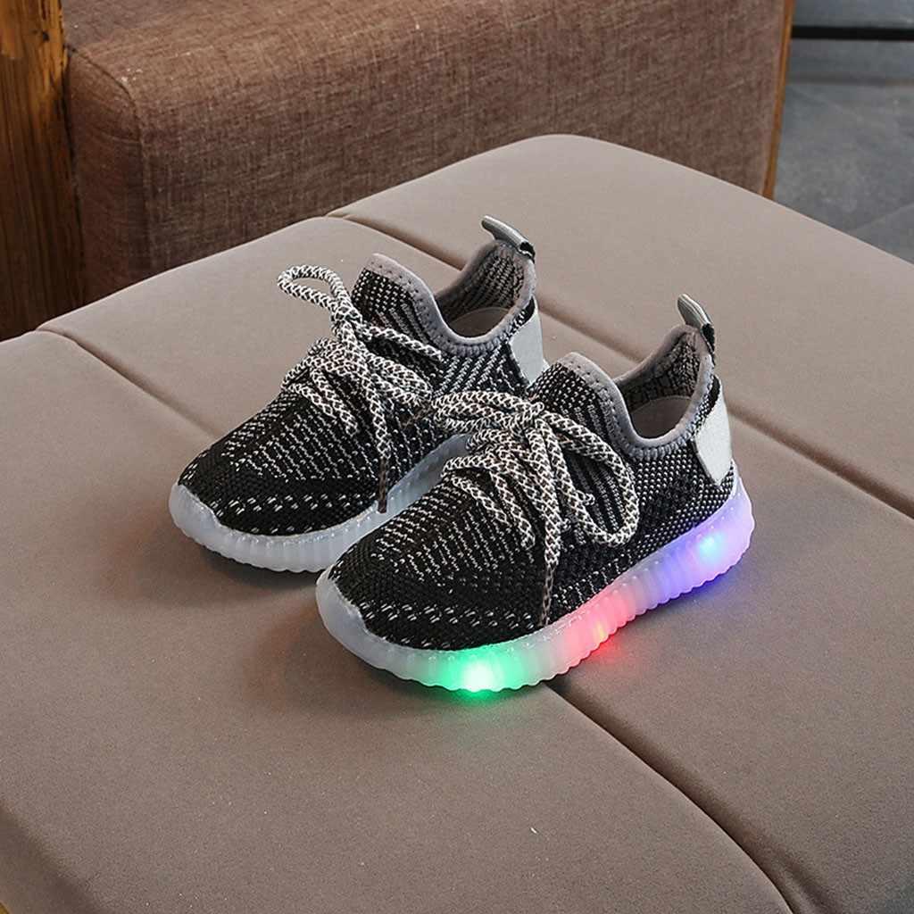 Niños zapatos de bebé niñas niños malla Led luz luminosa correr deporte zapatillas Sandalias Mujer 2019 niños zapatos