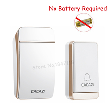 CACAZI Wireless No Battery Need Doorbell Waterproof Self-Pow